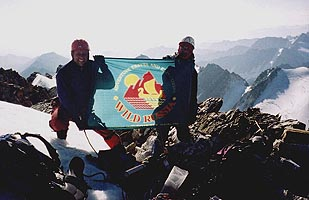 "Sergant Kirby and Ned Rimmer of ""Wild Russia"" on the top of p. Pobeda (3153 m), Chersky mountains."